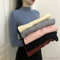 Korean Womens Winter Mock Neck Pullover Basic Knit Sweater Fit Shirt Blouse Tops