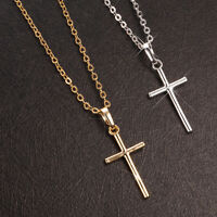 Women Men Fashion Cross Pendant Chain Necklace Jewelry Silver/Gold Plated HOT