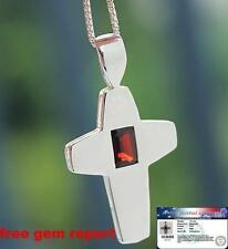 """Natural 0.75 Ct GARNET CROSS PENDANT WITH 18"""" CHAIN Sterling Silver Necklace"""