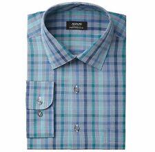 New $95 Alfani 15-15.5 34/35 Men Regular-Fit Blue White Plaid Button Dress Shirt