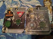 Halo 3 Mini Pin Badge Set 4pcs 3D Figural  and 4 Pc Magnet Set - Brand New Packs