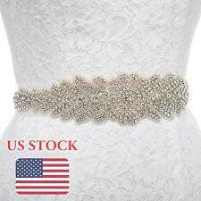 Wedding Satin Sash Belt Luxury Rhinestone Beaded Crystal Bridal Dress Belt