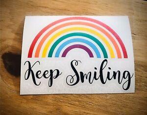 Keep Smiling Vinyl Sticker Rainbow Decal