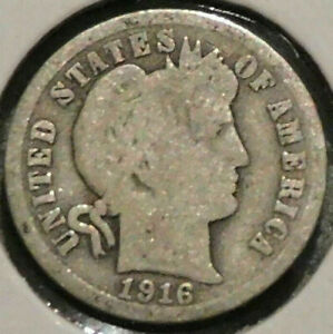 1916 Barber Dime 90% Vintage USA silver Age 105 KM#113 Key date last in Series .