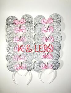 24pc Minnie Mickey Mouse Ears Headbands Shiny Pink Silver Birthday Party Favors