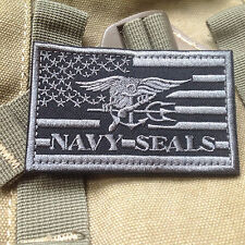 GRAY US NAVY SEAL TEAM TRIDENT US FLAG MORALE MILSPEC AIRSOFT TACTICAL  PATCH