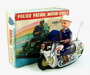 "Colorful 9.5"" (24 cm) Police Motorcycle w/ Original Box by Usagiya NR"