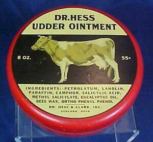 Vintage Dr. Hess Udder Ointment Tin Hess Clark Ashland Ohio Cow