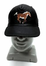 black leather hat with embroidered horse e14