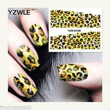 Nail Art Water Decals Wraps Black Brown Leopard Print Spots Gel Polish (8109)