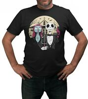 Jack & Sally Painting Halloween T-Shirt Adults Sizes Black 100% Cotton Shirt