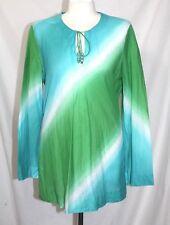 Jones New York - Womens L -EUC - Blue & Green Tie-Dye Key Hole Tunic Blouse