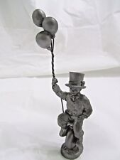 M. A. Ricker Pewter Boy Clown Figurine with Balloons on a Unicycle