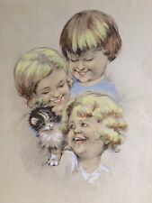 Dessin vintage enfants et chatons années 50 crayon couleurs et gouache