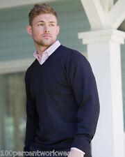 Size MEDIUM Russell 710M GREY Mens V Neck Pullover Jumper Easy Care CottonBlend