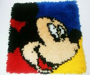 Mickey and Goofy Disney Completed Latch Hook Rug Wall Hangings 13 x 13