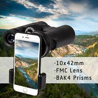 10x42 HD Binoculars Telescope BAK4 Prism FMC Lens for Hunting Hiking Camping