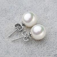 8/10/12/14mm White south sea shell pearl 925 S Silver Stud earrings AAA+