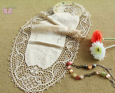 "Gorgeous 34"" Beige Oval HAND Embroidered JIMO lace Linen Doily Table Runner"