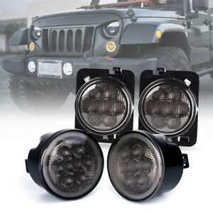 LED Turn Signal Halo DRL & Fender Side Light Smoke Lens for 07-18 Jeep Wrangler