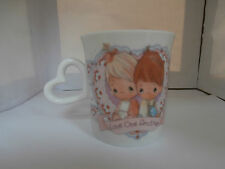 "Precious Moments Enesco Coffee Mug 1992 ""Love One Another"" Heart Handle Cute"