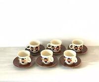Colditz Porcelain Coffee Cups & Saucers Set of 6 Vintage Floral Design.