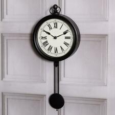 Large Black Pendulum Clock Wall Mounted Vintage Roman Numerals Hallway Home Chic
