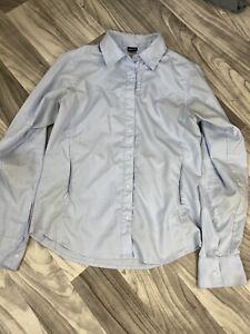 Womens Patagonia Sz 4 Long Sleeve Snap Up Front Fishing Hiking Shirt Blue