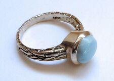 Sterling Silver 925 Blue Larimar Round Bezel Ring Size 9