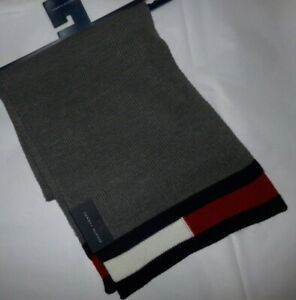 NWT MENS TOMMY HILFIGER WINTER SCARF~GRAY / NAVY~OS