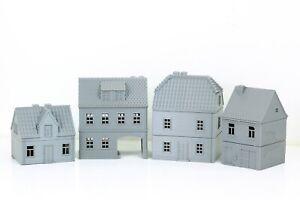 German Village Set of 4 Houses - Tabletop Wargaming Terrain - Miniature Gaming