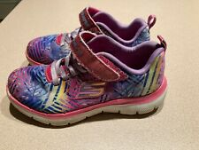 Girls colorful Skechers sneakers, no laces, size 12