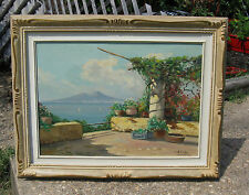 A PALINI Gulf Of Naples Mt Vesuvius Oil On Canvas Listed Italian Artist