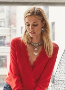 Sezane blouse, red, 100% silk, BNWT, Size S, gorgeous design.