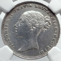 1838 GREAT BRITAIN UK Queen VICTORIA Antique Silver Shilling Coin NGC i81746