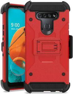 For LG V20 - Red / Black Hard Hybrid Holster Combo Phone Case Cover + Belt Clip