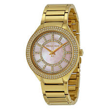 NIB Michael Kors Womens Watch Gold PINK MOP Swarovski Bracelet KERRY MK3396 $275