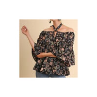 Women's Umgee Off the Shoulder Floral Print Tie Neck Ruffle Top Black NEW NWT L