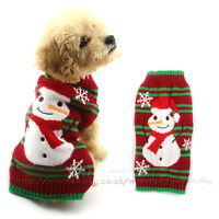 Christmas Dog Jumper Sweater W/ Reindeer Pattern Xmas Pet Puppy Cat Knit Costume
