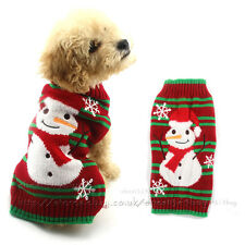 Xmas Dog Sweater Jacket Reindeer Snowman Knit Jumper Puppy Cat Coat Pet Costumes