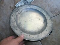 VERY RARE, Lg. Antique Hallmarked Pewter FOOD WARMER, c.1800, Bed, Trencher Gift