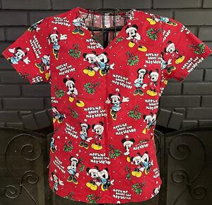 Disney Nursing Scrub Top Red Mickey Minnie Christmas Pattern  Women's S