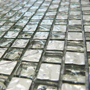 Diamond Silver And Glass Mosaic Tiles Sheet For Walls Floors Bathrooms Kitchens