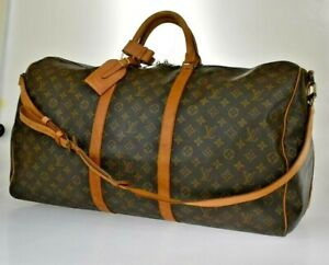 AUTH LOUIS VUITTON KEEPALL 60 BANDOULIERE HAND BAG MONOGRAM BROWN M41412 77JD166