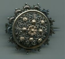 1870-1900 Trachten Filigran Silber Brosche+Gold Blüten Brosche Vergissmeinnicht