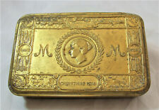WW1 CHRISTMAS 1914 QUEEN MARY BRASS GIFT TIN FOR THE TROOPS - ORIGINAL