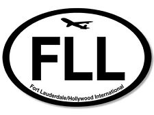 3x5 inch Oval FLL  Airport Code Sticker -fort lauderdale hollywood fly pilot hub
