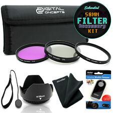 58MM Filter Accessory Kit for Canon EOS Rebel T6i T5i T4i T3i - UV CPL FLD HOOD