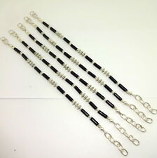 BRACELET NATURAL BLACK ONYX BEADED GEMSTONE HANDMADE 41 GRAMS 4 MM 5 PIECES LOT
