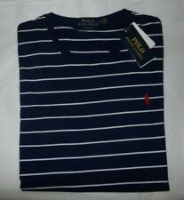 NWT MENS RALPH LAUREN POLO S/S T-SHIRT~SLIM~NAVY/WHITE~LRG